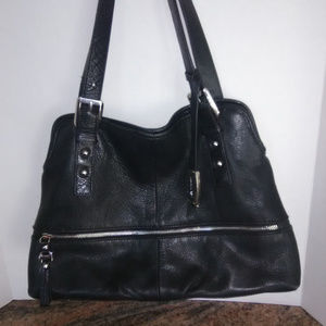 B Makowsky Classic Black Leather Shoulder Bag